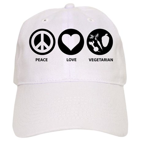 Peace Love Vegetarian Cap