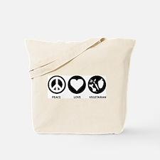 Peace Love Vegetarian Tote Bag
