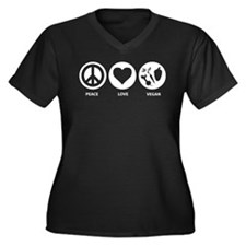Peace Love Vegan Women's Plus Size V-Neck Dark T-S