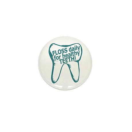 Floss Daily Healthy Teeth Mini Button (100 pack)