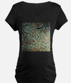 Western country Turquoise leathe Maternity T-Shirt