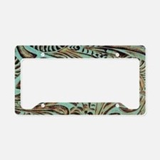 western country turquoise lea license plate holder