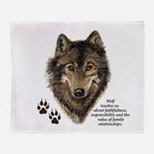 Wolf Totem Animal Guide Watercolor N Throw Blanket