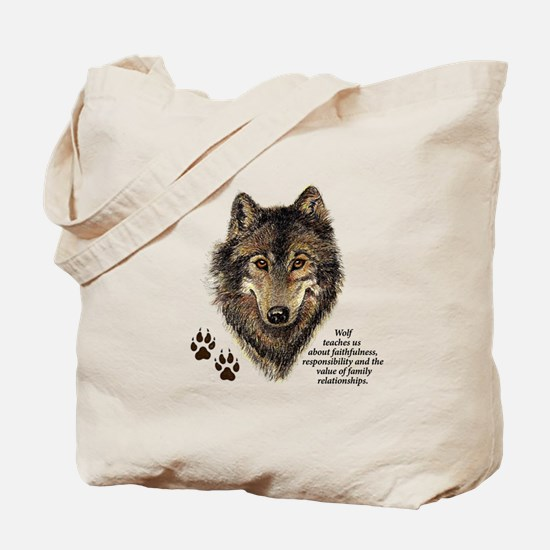 Wolf Totem Animal Guide Watercolor Nature Tote Bag