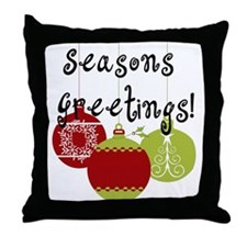 Season's Greetings Ornaments Throw Pillow