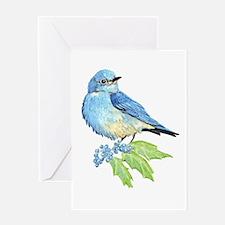 Watercolor Mountain Bluebird Bird Greeting Cards