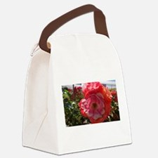 Pink And Orange Flower Canvas Lunch Bag