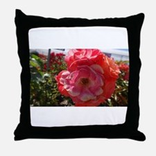 Pink And Orange Flower Throw Pillow
