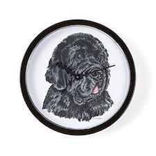 Newfoundland Dog Portrait Wall Clock
