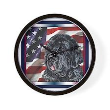 Newfoundland Dog Patriotic USA Flag Wall Clock