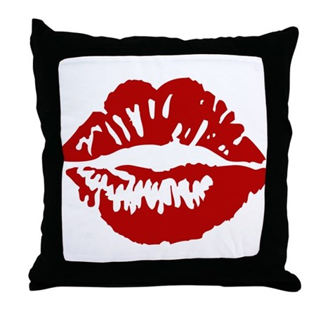 Red Lips / Lipstick Kiss Throw Pillow