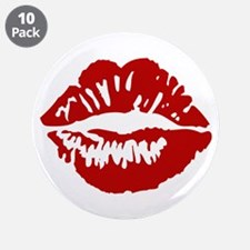 "Red Lips / Lipstick Kiss 3.5"" Button (10 pack)"