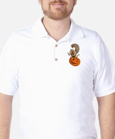 Squirrel Sword Jack-o-Lantern Golf Shirt