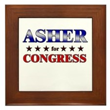 ASHER for congress Framed Tile