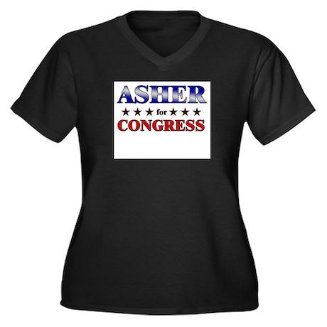 ASHER for congress Women's Plus Size V-Neck Dark T