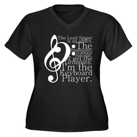 Keyboard Player Women's Plus Size V-Neck Dark T-Sh