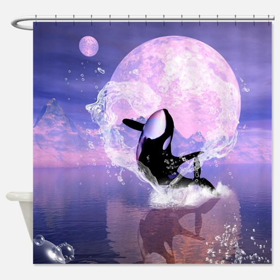 Orca jumping by a heart Shower Curtain