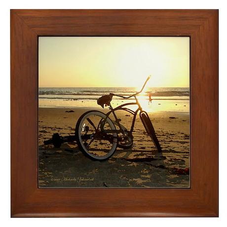 """San Diego Artistic Bike on the Beach """"Framed Tile"""""""
