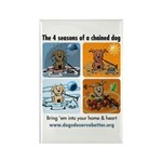 4 Seasons of Chained Dog Rectangle Magnet (100 pac