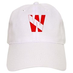 http://i3.cpcache.com/product/189260256/scuba_flag_letter_w_baseball_cap.jpg?color=White&height=240&width=240