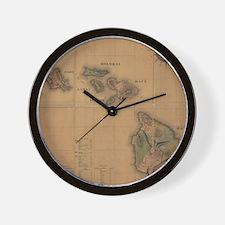 Vintage Map of Hawaii (1876) Wall Clock