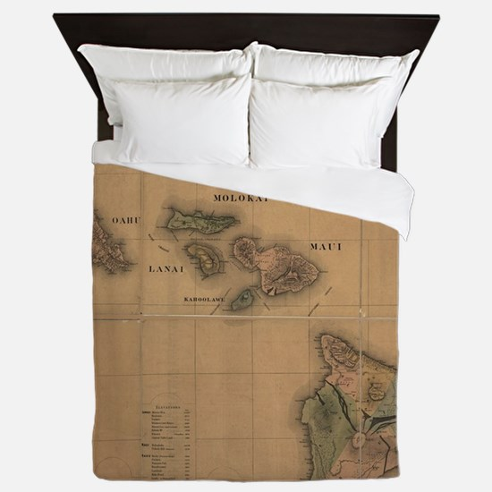 Vintage Map of Hawaii (1876) Queen Duvet