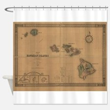 Vintage Map of Hawaii (1876) Shower Curtain