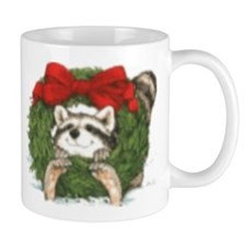 Racoon Wreath Christmas Mug