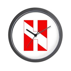 http://i3.cpcache.com/product/189278825/scuba_flag_letter_h_wall_clock.jpg?height=240&width=240