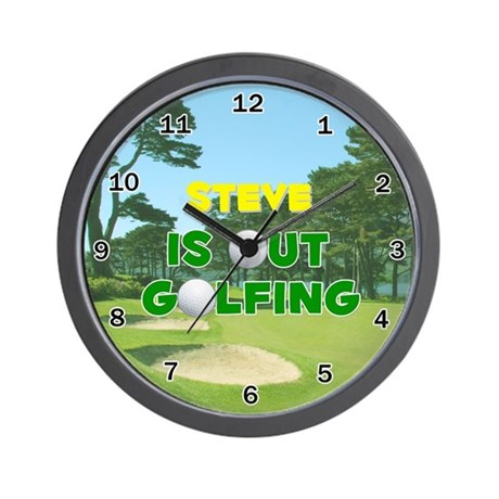 Steve is Out Golfing - Wall Clock