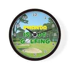 Amanda is Out Golfing - Wall Clock
