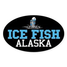 Ice Fish Alaska Oval Decal