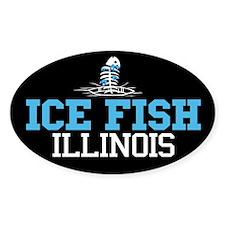 Ice Fish Illinois Oval Decal