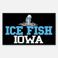 Ice Fish Iowa Rectangle Decal