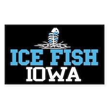 Ice Fish Iowa Rectangle Stickers