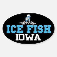 Ice Fish Iowa Oval Decal