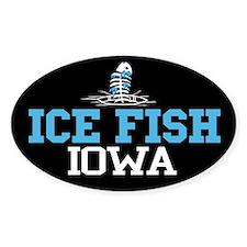 Ice Fish Iowa Oval Stickers