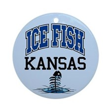 Ice Fish Kansas Ornament (Round)