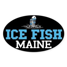 Ice Fish Maine Oval Decal