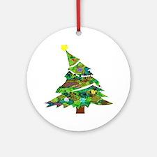 Merry Christmas Tree - Ornament (Round)