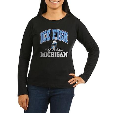 Ice Fish Michigan Women's Long Sleeve Dark T-Shirt
