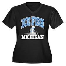 Ice Fish Michigan Women's Plus Size V-Neck Dark T-
