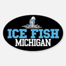 Ice Fish Michigan Oval Decal