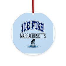 Ice Fish Massachusetts Ornament (Round)