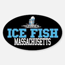Ice Fish Massachusetts Oval Decal