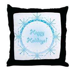 Snowy Happy Holidays Throw Pillow