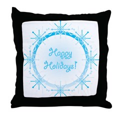Snowy Happy Holidays Throw Pillow