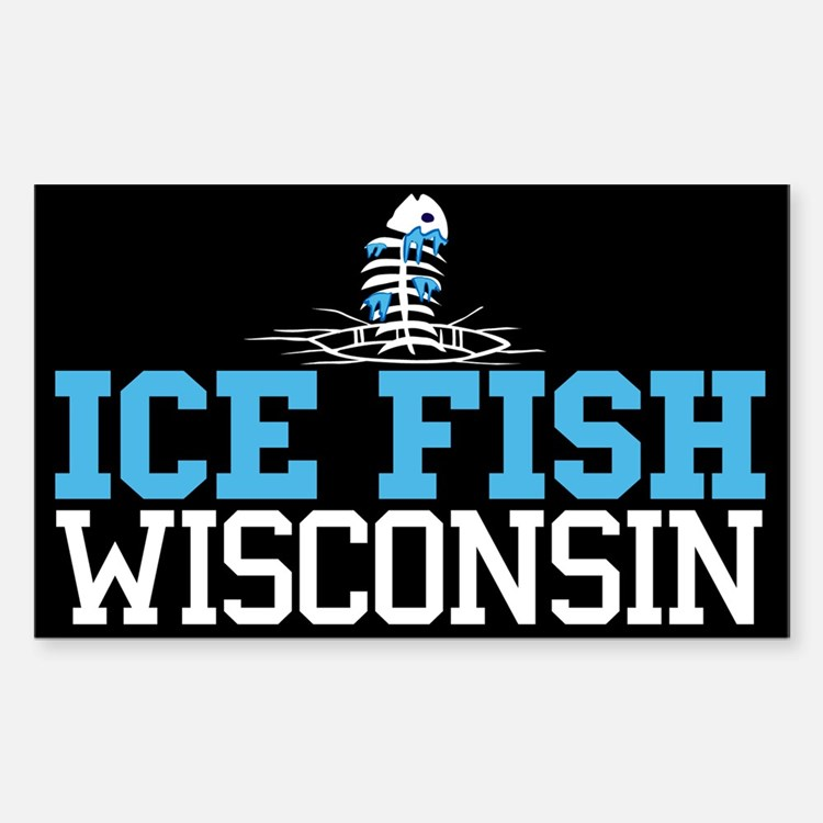 Ice Fish Wisconsin Rectangle Decal