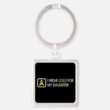 Childhood Cancer: Gold For My Daug Square Keychain