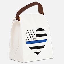 Blue Lives Matter Heart Canvas Lunch Bag